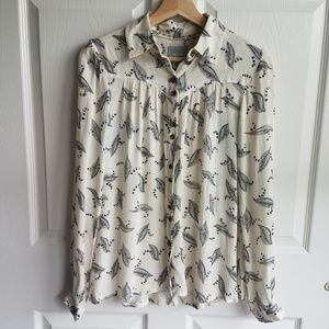 Maeve Ivory Leaf Bainbridge Button Down Top Size 0